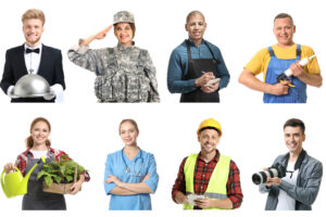 Collage with people of different professions on white background